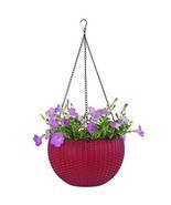 Garden Hanging Planter Basket Decoration Red Colour Outdoor Pots Planter  - £26.30 GBP