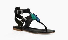 Ugg Australia 1015053 Lecia Tassel Black Suede Leather Thong Sandals siz... - $29.65
