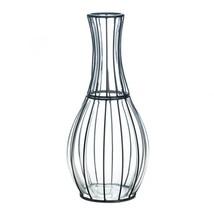 Art Glass Vase, Tall Metal Accent Decorative Home Centerpiece Modern Gla... - $41.99