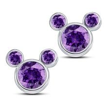 14k White GP 925 Silver Round Amethyst Women's Mickey Mouse Fancy Stud Earrings - $43.60