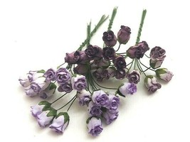 Mulberry Paper Flowers, Purple Rosebuds, 5mm, 20 Count