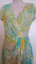 WOMEN'S NURTURE WRAP STYLE DRESS YELLOW AND GREEN SIZE M - £7.13 GBP
