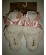 New Dearfoams Women's Memory Foams House Slide Slippers Ivory Faux Fur S... - $25.73