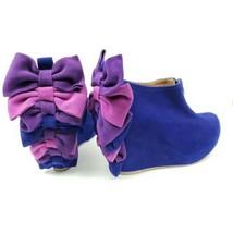Jeffrey Campbell Backbow Booties Blue Purple Pink Wedge Heel Fall Boots Sz 7.5 - $129.99