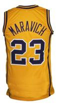 Pete Maravich #23 College Basketball Jersey New Sewn Yellow Any Size image 2