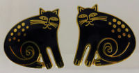 "Primary image for LAUREL BURCH ""CHESHIRE CAT"" Black Enamel Gold-Tone Clip-on EARRINGS"