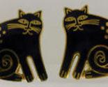 "LAUREL BURCH ""CHESHIRE CAT"" Black Enamel Gold-Tone Clip-on EARRINGS"