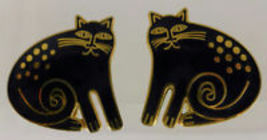 "LAUREL BURCH ""CHESHIRE CAT"" Black Enamel Gold-Tone Clip-on EARRINGS - $25.00"