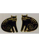 "LAUREL BURCH ""CHESHIRE CAT"" Black Enamel Gold-Tone Clip-on EARRINGS - $25.00"