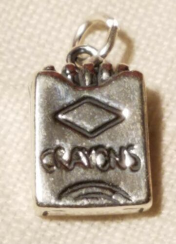 .925 Sterling Silver 3-D Box Of Crayons Charm Pendant  Stamped .925