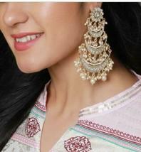 Indian 22k Gold Plated Earrings Jhumka Jhumki Ethnic Fashion Chandbali W... - $18.99