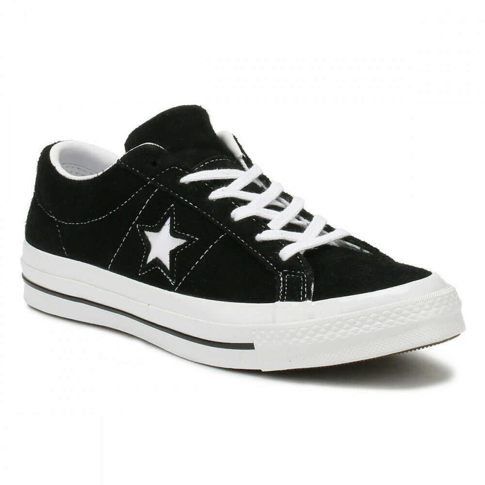 Primary image for Converse One Star Ox Black White Suede Mens Trainer Shoes 158369C