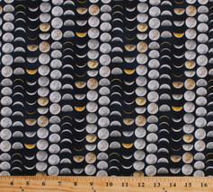 Moons Lunar Phases Cycle Outer Space Galileo Cotton Fabric Print BTY D57... - $11.49