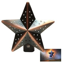 Christmas Tree Tin Star Night Light Bronze Auto Photocell Dusk-to-Dawn S... - $9.74