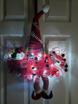 SANTAS ELVES CHRISTMAS DECO MESH DOOR WREATH! HANDMADE! Lighted - $34.65