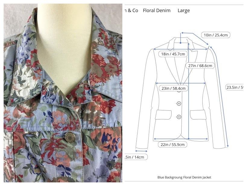 Denim co floral denim jacket large sizely collage
