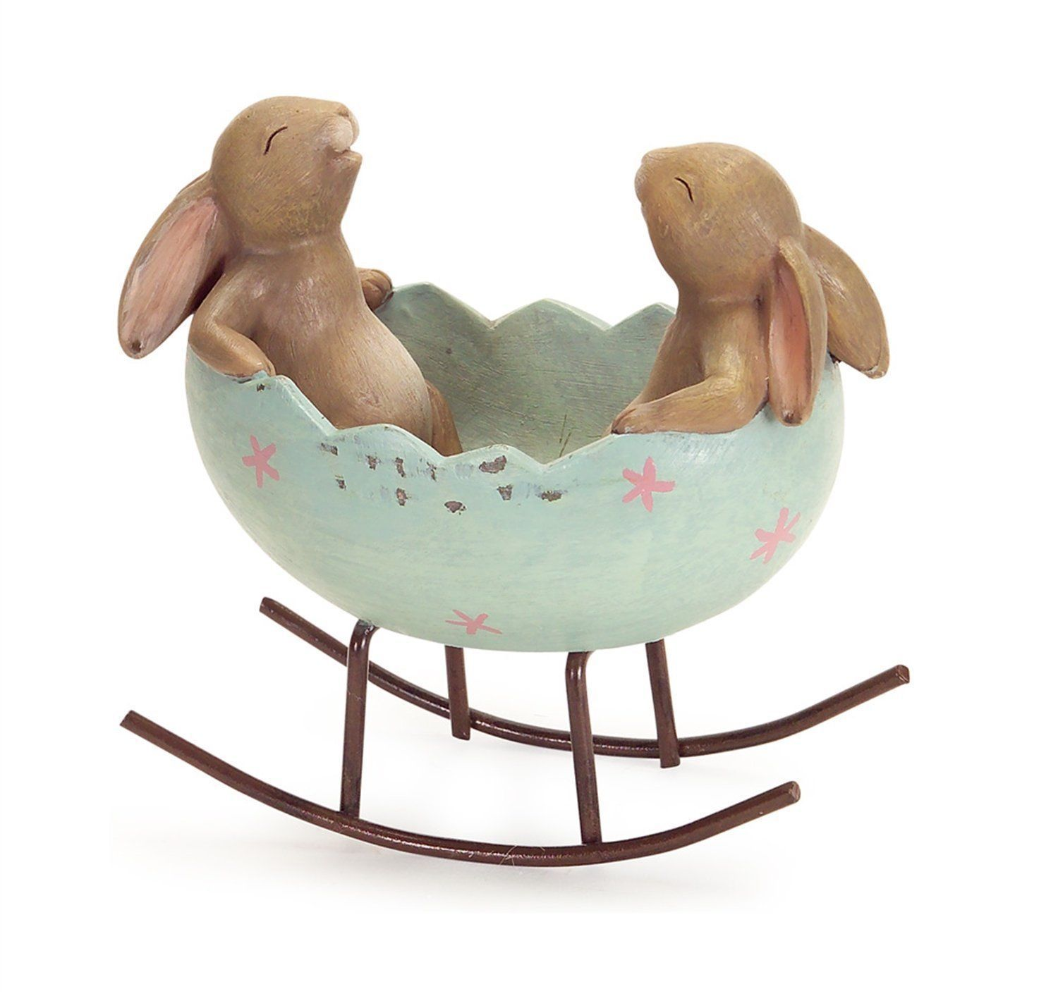 Laughing Bunny Rabbits Rocking in an Easter Egg Cradle WITH FLAWS