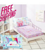 Unicorn Baby Crib Set Toddler Fitted Sheet Pillowcase Breathable Polyester Bed - $16.82