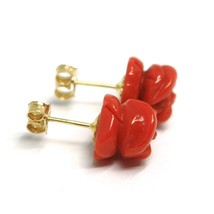 Yellow Gold Earrings 18K 750,Roses of Red Coral, Flowers, Diameter 9 MM image 2