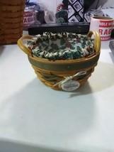 Longaberger Leather Handles Peppermint Basket - 1999 - Liner & Plastic P... - $11.91