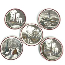 5 Vintage Vernon Kilns Plates Bits of Old New England Boat Lighthouse Ch... - $39.77