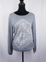 Womens J Crew Gray Long Sleeved Pullover Crew Neck Sweater Print Front Sz L - $19.99