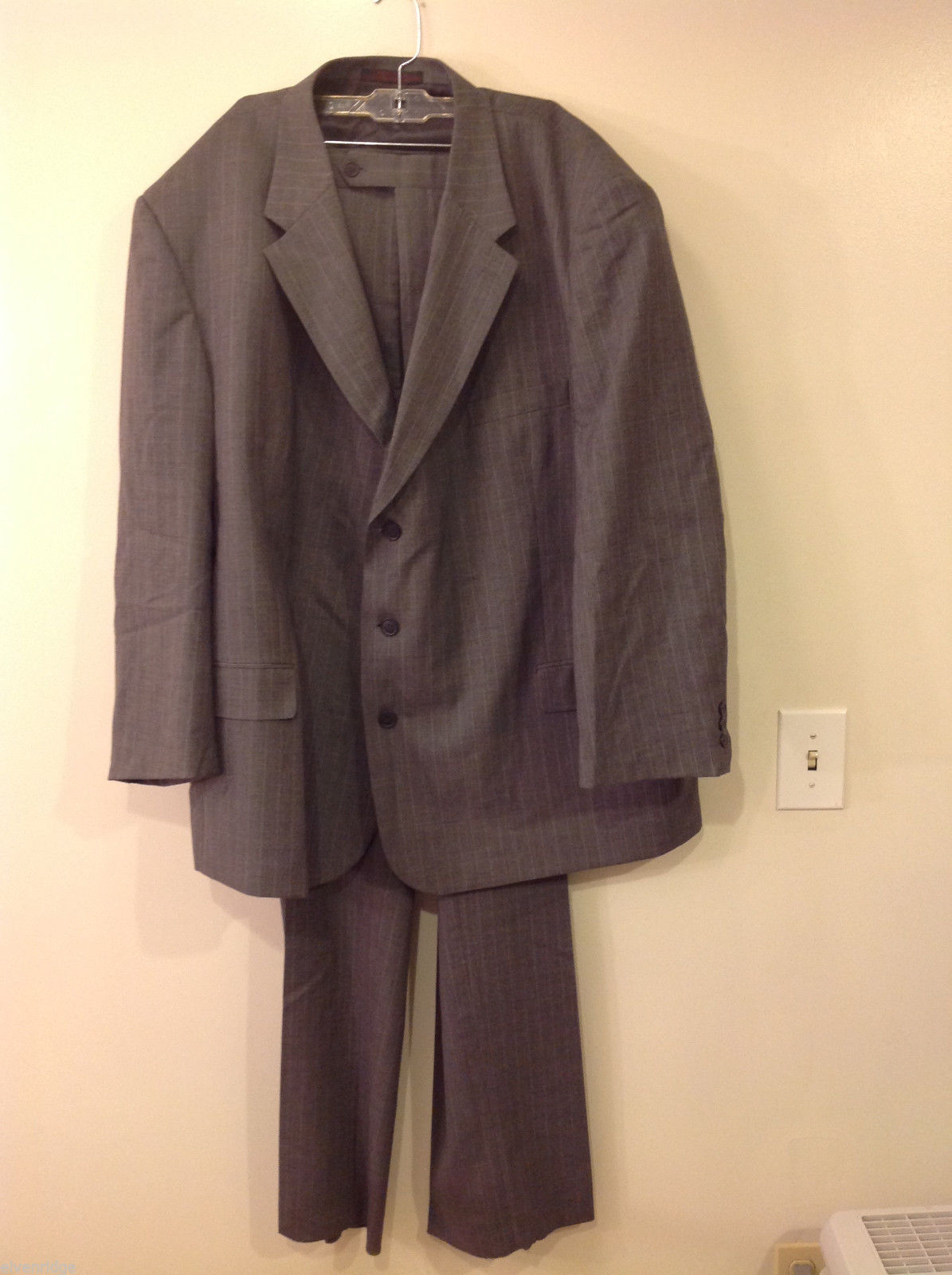 Adolfo Big and Tall 2-Piece Suit Set Intermediate Charcoal Gray with Pinstripes