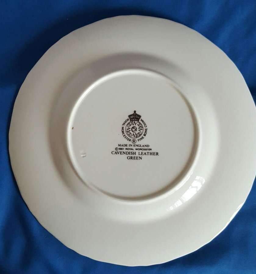 """Cavendish Leather Green by Royal Worcester Bone China Salad Plate 8"""""""