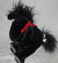 MANHATTAN TOY STUFFED PLUSH 1999 BLACK WHITE RED HORSE PONY - $12.27