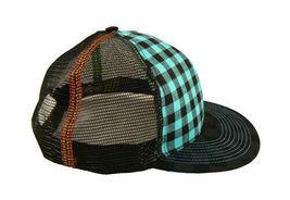 Official Black Turquoise Checker Mesh Snapback Baseball Hat Cap NWT image 3