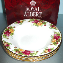 Royal Albert Old Country Roses Set of 4 Rim Soup Bowls New In Box - $129.90