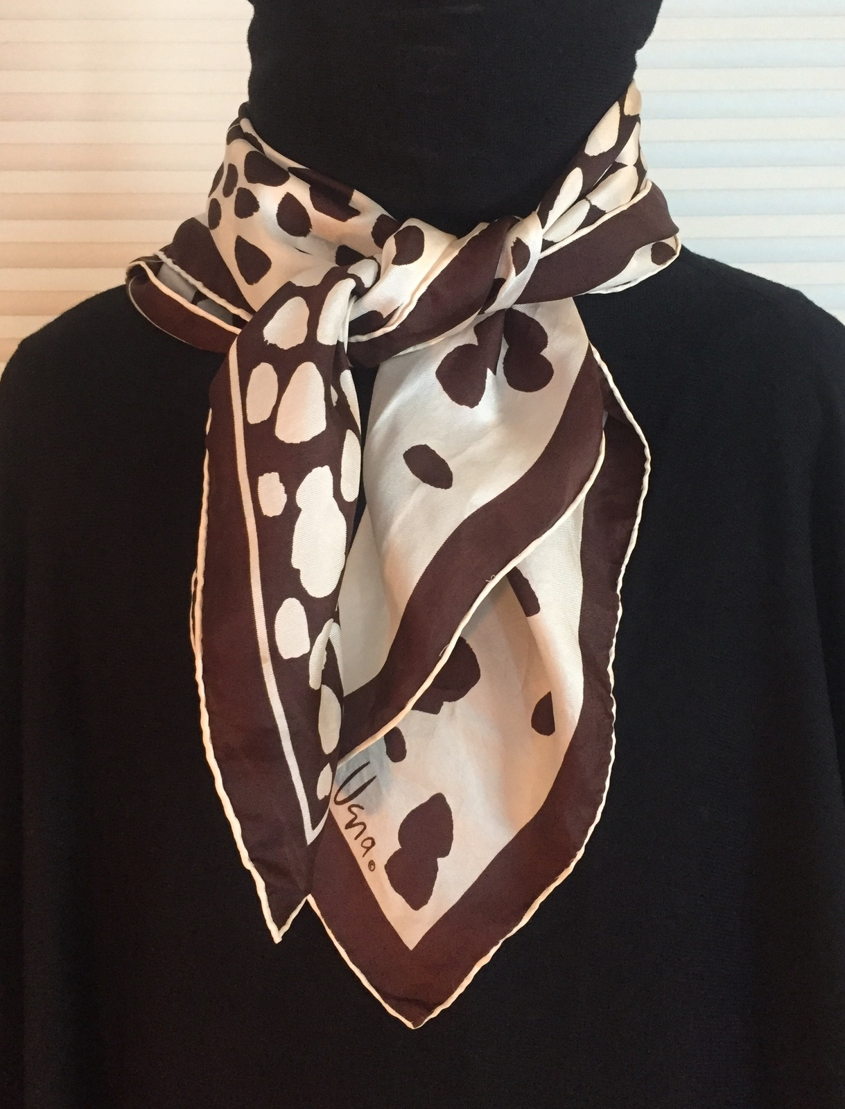 Vintage 60s Vera Neumann square silk scarf (Brown & Cream animal print)