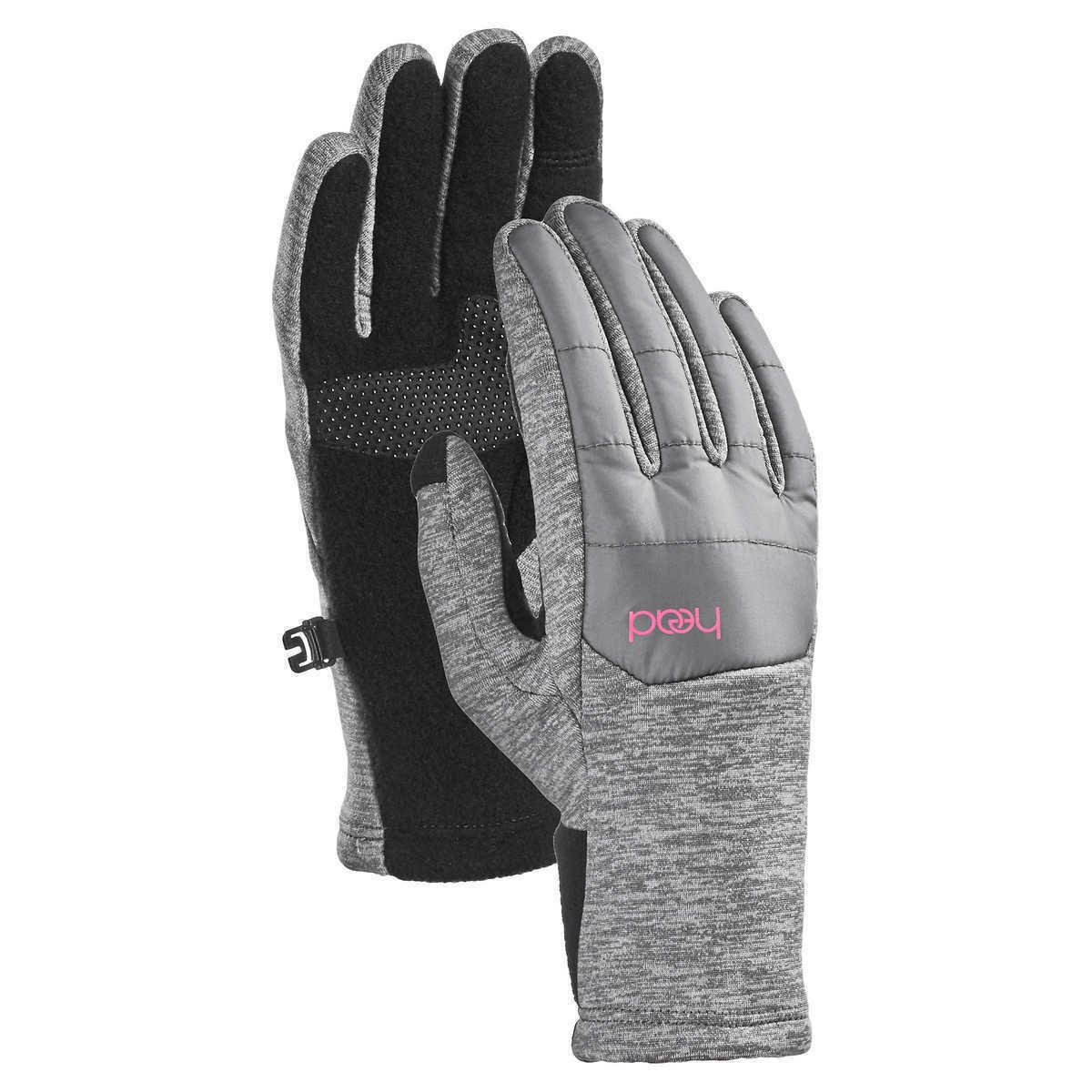 HEAD Jr Junior Girls Lt Gray Pink Hybrid Sensatec Touchscreen Winter Gloves NWT