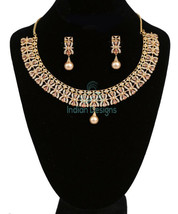 GIFT FOR MOM TOPAZ PEAR STONE FLORAL DESIGN NECKLACE SET GOLD PLATED JEW... - $75.23
