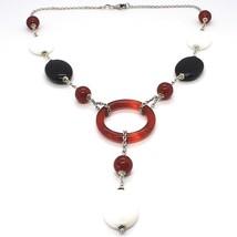925 Silver Necklace, White Agate, Onyx, Carnelian, Pendant, Chain Rolo image 1