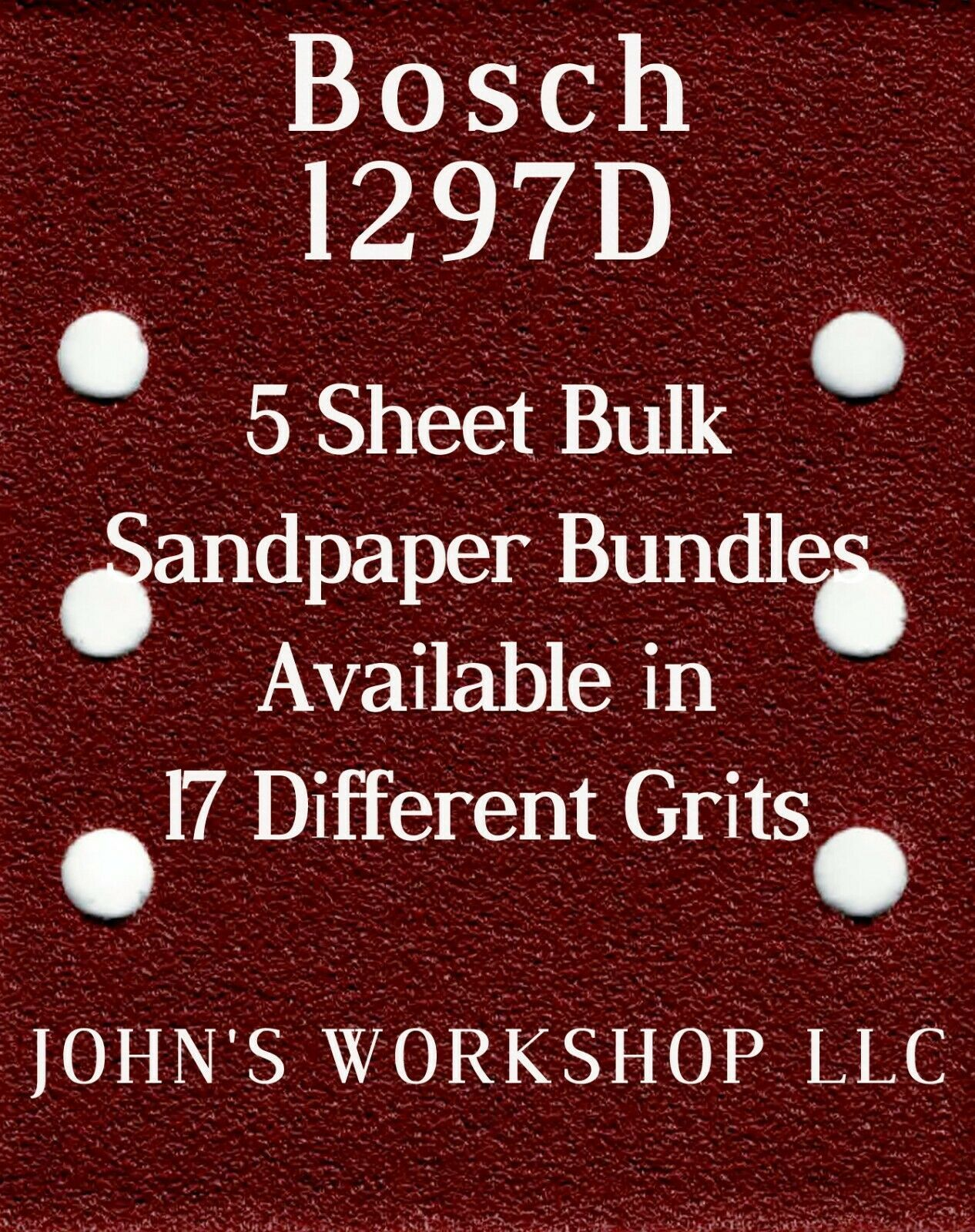 Primary image for Bosch 1297D - 1/4 Sheet - 17 Grits - No-Slip - 5 Sandpaper Bulk Bundles