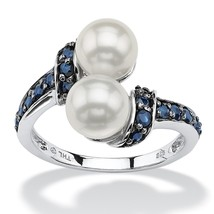 PalmBeach Jewelry .79 TCW Sapphire and Pearl Platinum over .925 Sterling... - $59.99