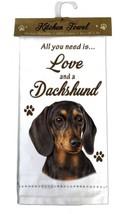 DACHSHUND BLACK DOG COTTON KITCHEN DISH TOWEL - $9.99