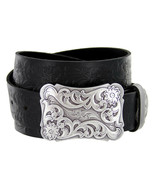 "Western Floral Engraved Buckle Tooled Full Grain Leather Belt 1-1/2"" (38... - $31.45"