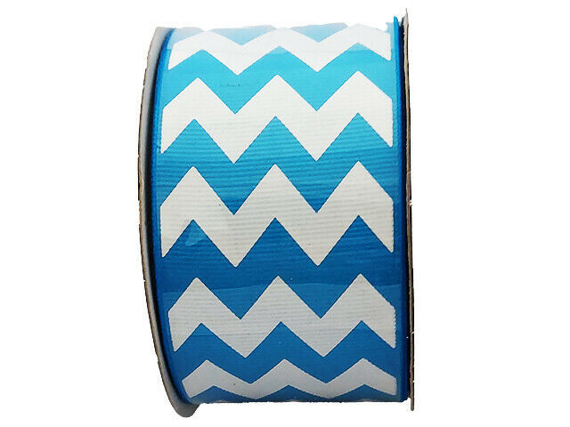 "Hobby Lobby Ribbon Boutique Turquoise & White Chevron Ribbon, 2"" Wide #389148"