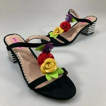 """Betsey Johnson 8.5 Multi-Color Floral Open Toe 2.5"""" Striped Heels  - $66.64"""