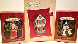 3 Hallmark Keepsake Ornaments/New Home/Santa's Hidden Surprise/Christmas Checkup - $7.67