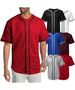 Mens Baseball Jersey MLB Plain T Shirt Team Uniform Solid Button Tee - $16.14+