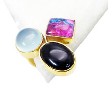 charming Multi Black onyx Gold Plated Multi Ring genuine usually US gift - $11.08