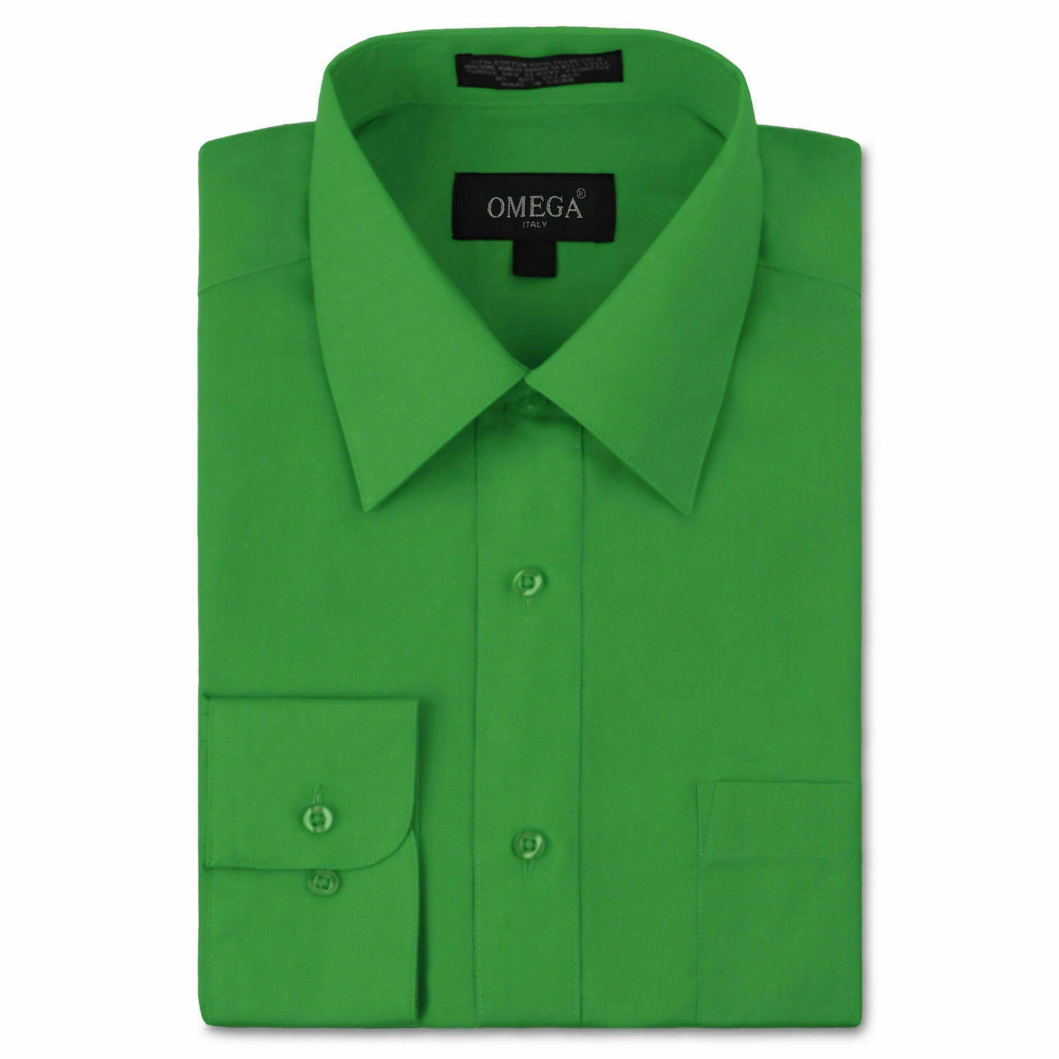 Omega Italy Men's Long Sleeve Green Regular Fit Button Up Dress Shirt - L