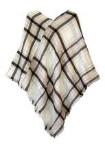 Le Nom Soft Plaid Poncho (Brown) - $12.86