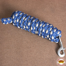 """Hilason Horse Riding Poly Lead Rope Brown Navy Blue 1/4"""" X 8 Ft. W/ Snaps U-/GRY - $19.79"""