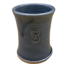 "Owl Art Pottery 4"" Tumbler Blue Studio Pottery Bathroom Water Glass - $24.18"