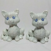 Ceramic Cats Kittens Light Blue Set of 2 Kimple Molds Textured 1985 - $17.10