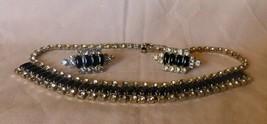 "Vintage 1950s Black Baquette & Clear Rhinestones 15"" Necklace & Clip Ear... - $165.00"